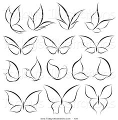 Clipart of a Digital Collage of Black and White Butterfly Logos on White