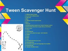 tween or kids nature scavenger hunt clues Summer Scavenger Hunts, Backyard Scavenger Hunts, Scavenger Hunt Party, Nature Scavenger Hunts, Treasure Hunt Clues, Camping Games, Camping Ideas, Slumber Parties, Mom Blogs