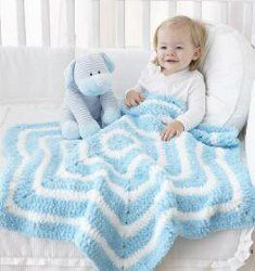 This Star Blanket is the cutest baby blanket you will ever see that's worked in rounds. You can use Bernat Pipsqueak in Silly Sea and Whitey White contrasting colors with this free crochet pattern. Make this baby blanket the center of attention.