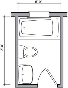 5ft x 8ft standard small bathroom floor plan with shower for Bathroom design 6 x 7