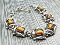Vintage Sterling Silver Tiger Eye Bracelet by BelmarJewelers