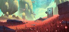 Casual Flyer, Michael Bills on ArtStation at… Fantasy Landscape, Landscape Art, Fantasy Art, Environment Concept Art, Environment Design, Low Poly, Bg Design, No Man's Sky, Alien Planet