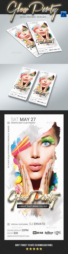 Buy DL Glow Party Flyer by rapidgraf on GraphicRiver. Circle Logo Design, Modern Logo Design, House Party Decorations, Hip Hop Party, Wild One Birthday Party, Glow Party, Kid Party Favors, Party Flyer, Flyer Design