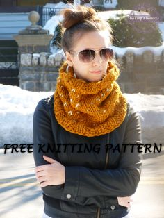 Knit this cozy chic cowl by Bo Peep's Bonnets with Lion Brand Wool-Ease Thick & Quick! Free pattern calls for size 17 knitting needles and 2 balls of yarn (pictured in butterscotch and wheat).
