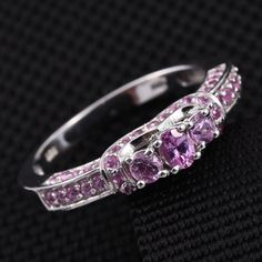 Madagascar Pink Sapphire Platinum Over Sterling Silver Ring