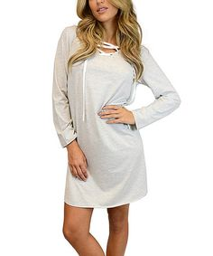 Look what I found on #zulily! Heather Gray Lace-Up Long-Sleeve Jersey Dress - Women #zulilyfinds
