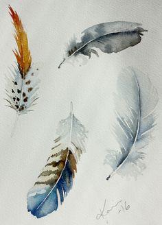 Tattoo Bird Watercolor Feathers 26 New Ideas Feather Drawing, Watercolor Feather, Feather Painting, Feather Art, Watercolor And Ink, Watercolor Paintings, Bird Paintings, Tattoo Watercolor, Watercolours