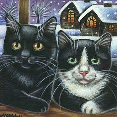 Black  Tuxedo Cat Winter Xmas Painting