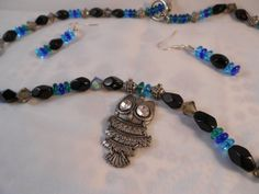 OWL BEADED JEWELRY Set  Turquoise and Blue by NURSESCREATIONS, $24.00