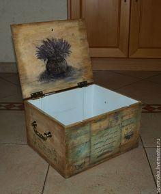 """Купить Ящик """"Тайны Прованса"""" - оливковый, винтажный стиль, винтаж, короб для хранения, ретро, Декупаж"""