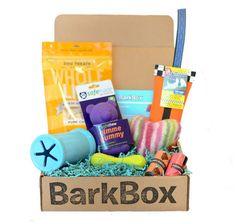 When you sign up for BarkBox, every month you will receive a box in the mail with four of more carefully selected products and presents for your dog - anything from toys, bones and all-natural treats to hygiene products and innovative new gadgets!