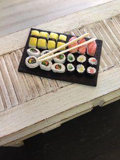 Dolls House Miniature Sushi Platter by Artistique on Etsy, £18.00 dolls house sushi