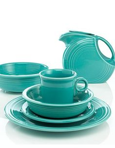 Turquoise Fiesta ware- when you are on a good sale and I have a coupon, you will be mine bwahaha