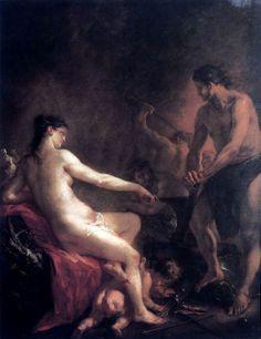 Martin Johann Schmidt - Venus at Forge of Vulcan. Tags: venus, afrodite, aphrodite, vulcan, hephaestus, hefaistos, aeneid,