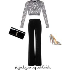 Silver by fiercefashi0nista on Polyvore featuring polyvore, mode, style, Hervé Léger, Emilio Pucci, Christian Louboutin and Yves Saint Laurent