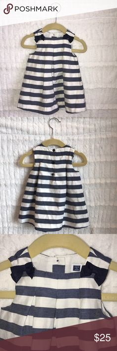 Navy blue and white stripe dress Janie and Jack baby girl navy blue and white dress.  Grosgrain bows add a fresh touch to this nautical dress. Pleats and crisp stripes finish the design. Worn once. Jack and Janie Dresses Formal