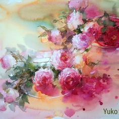 "Gefällt 2,582 Mal, 29 Kommentare - Yuko Nagayama (@yuko_nagayama) auf Instagram: ""[ 青島Demonstration ] #watercolorpainting #watercolour #ばら #rose #yukonagayama #永山裕子"""