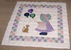 Sunbonnet Sue Quilt Patterns free sunbonnet sue quilt pattern are much older than the Quilt Baby, Cat Quilt, Baby Girl Quilts, Doll Quilt, Girls Quilts, Charm Pack Quilt Patterns, Baby Quilt Patterns, Applique Patterns, Applique Quilts