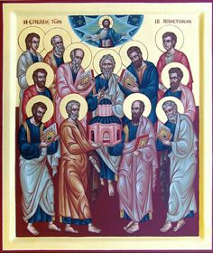 ~The 12 apostles of Jesus - Let us rejoice that we too are called to be Jesus' companions and have been entrusted with the mission to go and bring His love to others. Jesus Is Alive, Church History, Churches Of Christ, Orthodox Icons, Christian Art, Catholic, Prayers, Faith, Painting