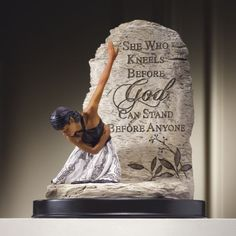 """She Who Kneels Sculpture from Midnight Velvet®. A beautiful gift for a woman of faith or a reminder for yourself, this inspiring figurine speaks to the power of prayer and trust in God. The inscription reads, """"She who kneels before God can stand before anyone."""""""