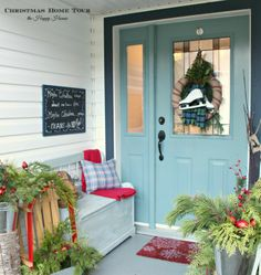 The Happy Housie Christmas Home Tour front porch with ice skate wreath