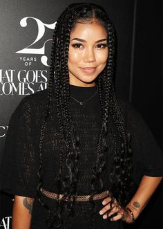19 Standout CelebApproved Ways to Style Your Box Braids This Summer STYLECASTER box braid hairstyles corn rows small box braids long box braids box braids Dookie Braids, Short Box Braids, Blonde Box Braids, Small Braids, Braids Wig, Braids For Black Hair, Corn Row Braids, Medium Box Braids, Jumbo Box Braids