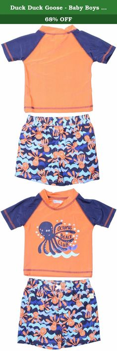 Duck Duck Goose - Baby Boys Sea Life Octopus Soft Rash Guard & Swim Trunks Set3/6. THIS CUTE TWO PIECE RASH GUARD SHORT SLEEVE TEE AND MATCHING SWIM TRUNK FEATURE ADORABLE SEA LIFE PRINTS. 85% POLY AND 15% SPANDEX.