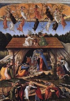 Sandro Botticelli ~ The Mystical Nativity ~ National Gallery of London. A rather complex work full of Savonarolian symbolism. The Florentine painter Sandro Botticelli is one of the most important artists of the Renaissance. Giorgio Vasari, Sandro, Renaissance Kunst, Renaissance Paintings, Nativity Painting, National Gallery, Mystique, Italian Painters, Italian Artist
