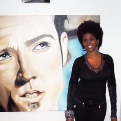 Artist Omo Misha next to one her pieces. Scott Weiland of Stone Temple Pilots and Velvet Revolver. #art #paintings