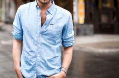 Koszula <3 Denim Button Up, Button Up Shirts, Catwalk Fashion, Denim Outfit, Latest Trends, Men Casual, Mens Tops, Clothes, Design