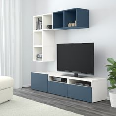 BESTÅ / EKET TV storage combination IKEA Hide or display your things by combining open and closed storage. Tv Cabinet Design, Tv Wall Design, Ikea Design, Ikea Eket, Rack Tv, Tv Unit Decor, Living Room Tv Unit Designs, Living Room Decor Inspiration, Ikea Living Room