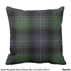 20x20 Gorgeous Green Tartan Throw Pillow