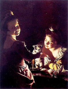 Two Girls Dressing a Kitten by Candlelight |  by Joseph Wright of Derby