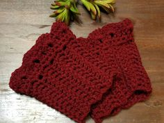 Crocheted maroon colored boot cuffs. One size fits most! Well made by myself, these boot cuffs finish off the outfit when wearing boots. My grandmother taught me to crochet about 27 years ago and I love it! I now will be listing items as I make them. If you would like a specific color please request a custom order. Thank you for shopping with me