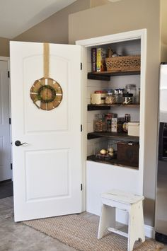 pantry shelving Create a beautiful farmhouse pantry makeover by adding DIY shiplap and stained wood shelves. This custom look can make any pantry stunning and functional. Pantry Shelving, Pantry Storage, Pantry Organization, Shelving Ideas, Organizing Ideas, Organized Pantry, Pantry Ideas, Kitchen Ideas, Kitchen Storage