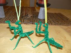 Praying Mantises made from Pipe Cleaners. For our insect unit.