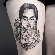 Awesome Wednesday Addams tattoo by Cutty Bage #CuttyBage #sketch #sketchstyle #blackwork #wednesdayaddams