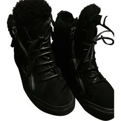 Pre-owned Giuseppe Zanotti Shearling Lined Double Zip Sneakers Black... ($444) ❤ liked on Polyvore featuring shoes, sneakers, black, giuseppe zanotti sneakers, black sneakers, black shoes, giuseppe zanotti trainers and kohl shoes