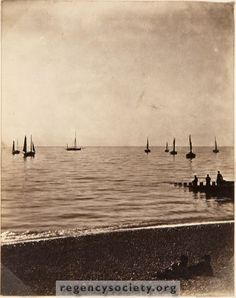 Looking out to sea on a calm day with sailing boats.  Image Reference:JG_03_067.tif Date:c.1900 Image Details:Original monochrome print Size of Original:60x75 Place:Brighton Additional Information:No comment