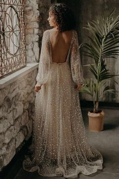 V-neckline Sequin Wedding Dresses Loose Long Sleeves - This is a made-to-order product. This gorgeous gown is romantic. With see-through loose sleeves - Boho Wedding Dress With Sleeves, Gold Wedding Gowns, Maxi Dress Wedding, Gowns With Sleeves, White Wedding Dresses, Floral Maxi Dress, Wedding Dress With Gold, Embelished Wedding Dress, Wedding Dress Removable Skirt