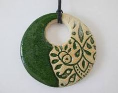 Green ceramic pendant ceramic pendant necklace ethnic ceramic necklace pottery handmade bohemian pendant ceramic jewelry gift for girl Ceramic Necklace, Ceramic Pendant, Ceramic Jewelry, Ceramic Beads, Clay Beads, Pendant Necklace, Green Necklace, Slab Pottery, Ceramic Pottery
