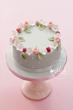 Sweet Round Little Cake With Rosebuds, Apple Blossoms And Sugar Strawberries By Minh Cakes