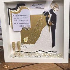 Box Frame Art, Deep Box Frames, Shadow Box Art, Shadow Box Frames, Wedding Cards, Wedding Gifts, Teacher Wedding, Wedding Silhouette, Easy Paper Crafts