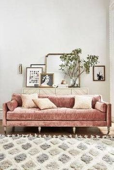 Pink couch and fluffy rug in the living room. Home decor and interior decorating ideas Living Room Designs, Living Room Decor, Living Spaces, Living Rooms, Apartment Living, Apartment Ideas, Living Area, French Apartment, Bedroom Decor