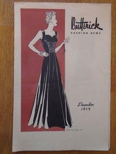 Butterick Fashion News, December 1939 featuring Butterick 8678