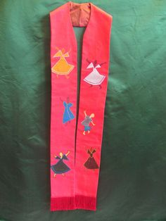 Clergy Stole - Dancing for Joy (red). $175.00, via Etsy.