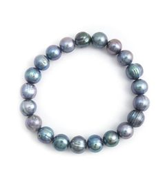 Aurora Patina Blauwe parel armband met 10 mm parels