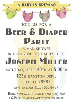 Beer and Diaper Party Invitation A Man by HeartfeltInvitations, $1.00