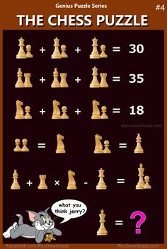 The Chess Puzzle - Viral Math Puzzles, Genius Brainteasers and Logical Math Puzzles - Puzzle for kids, Grade 4 to 7 math - IQ Math Test - Printable Math Puzzle for school kids Fun Math, Math Games, Math Logic Puzzles, Chess Puzzles, Brain Teasers Riddles, Fun Brain, Math Talk, Math Challenge, Picture Puzzles