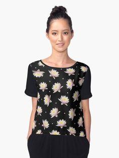'Beautiful Tropical Flower Pattern' Chiffon Top by dkatesmith Folk Embroidery, Shirt Embroidery, Modern Embroidery, Embroidery Patterns, Geometric Circle, Glitter Stars, Young Fashion, Woman Fashion, Mosaic Designs